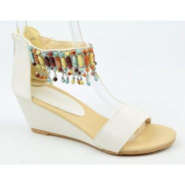Sandales compensées blanches Boécia