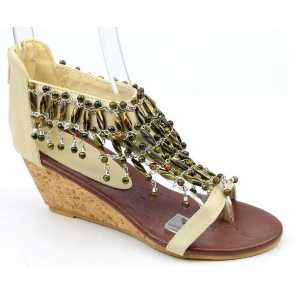 Sandales compensées beiges Koto