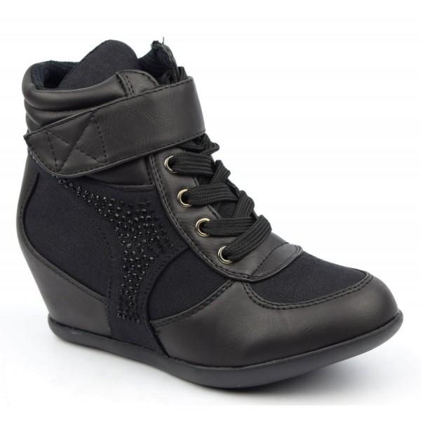 baskets compens es noires iliane petits souliers. Black Bedroom Furniture Sets. Home Design Ideas