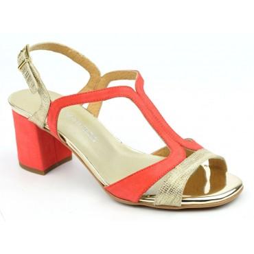 Sandales cuir daim, Corail, Macha, F2056, Brenda Zaro