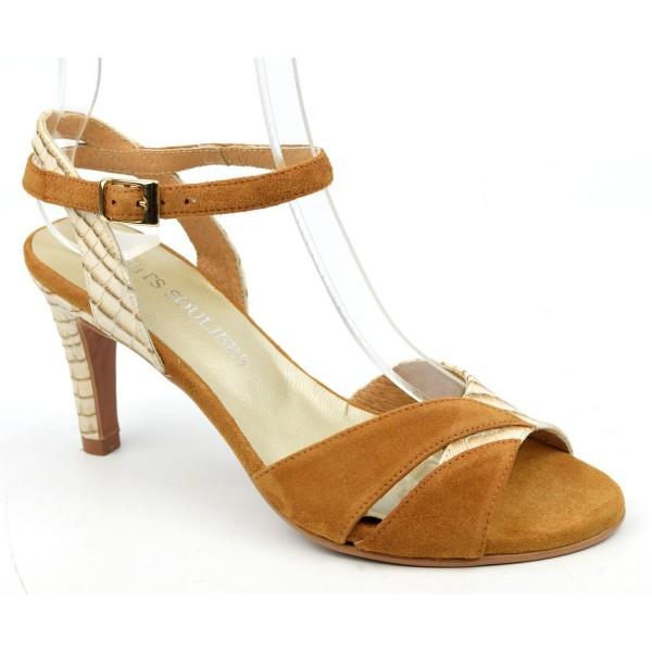 Sandales cuir mat beige, talons effet bois, F2145, Brenda