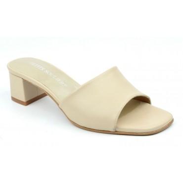 Mules cuir mat, beiges, Salta, F2148, Brenda Zaro