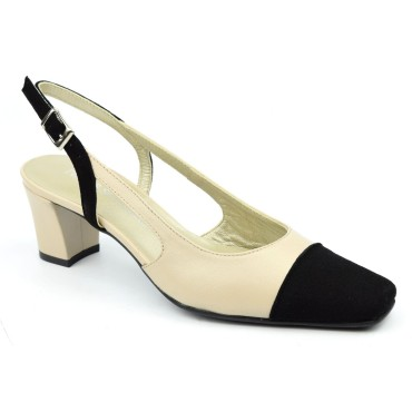 Sandales bouts fermés, cuir, beige et daim noire, Tacana, F1980, Brenda Zaro