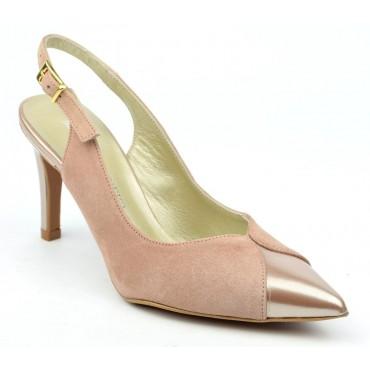Sandales bouts pointus fermés, cuir daim rose poudré et verni nude, F2103, Nazca, Brenda Zaro