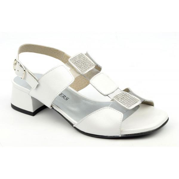 Sandales cuir blanc mat, Cachi, F2046, Brenda Zaro