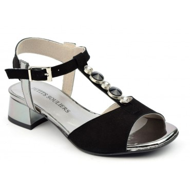 Sandales cuir daim, noires, Adela, F2047A, Brenda Zaro