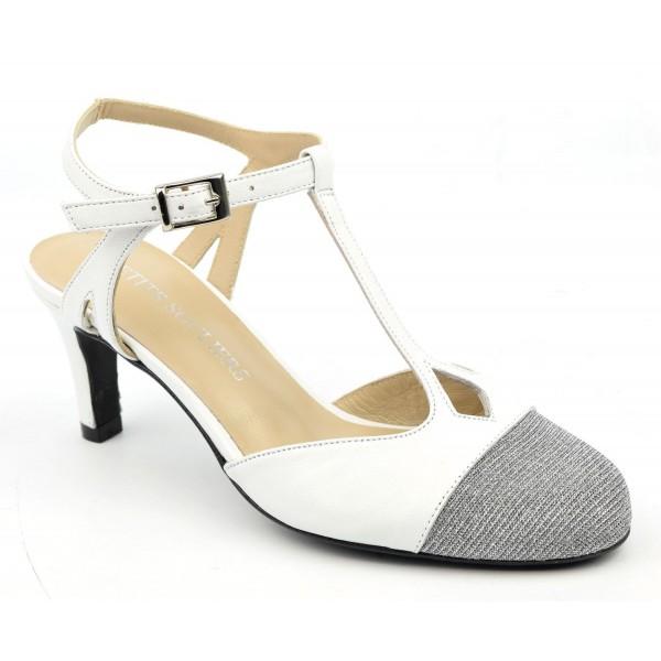 Sandales, cuir mat blanc, bouts ronds fermés pailletées argent, F2125 , Ninte, Brenda Zaro