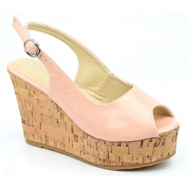 Chaussures, talons compensés, bouts ouverts, beige rosé, Dianye, femme petite pointure