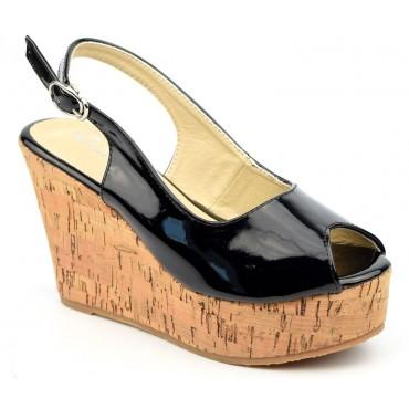 Chaussures, talons compensés, bouts ouverts, noires, Dianye, femme petite pointure