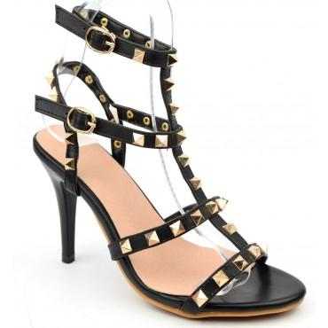 Sandales cloutées aspect cuir mat, noires, Riana
