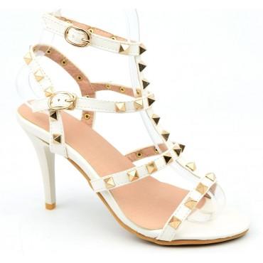 Sandales cloutées aspect cuir mat, blanches, Riana