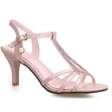 Sandales mariage, strass, aspect cuir mat rose poudré, Palma
