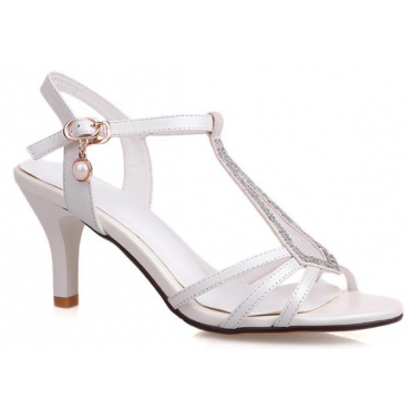 Sandales mariage, strass, aspect cuir mat blanches, Palma