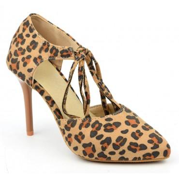 Escarpins lacets, aspect daim, léopard, bouts pointus, Calarie