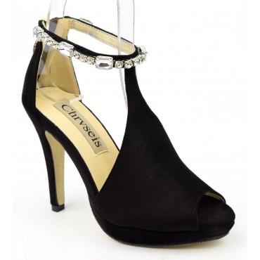 Sandales habillées strass, nubuck, noire, Mainly, femme petite pointure