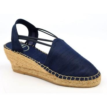 Espadrilles, sandales compensées, soie sauvage, satinées bleu marine, Turia , Toni Pons