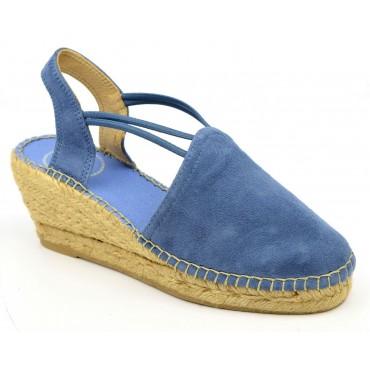 Espadrilles, sandales compensées, cuir daim, bleu jean, Tremp , Toni Pons