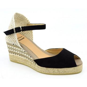 Espadrilles, sandales compensées, cuir daim, noires, Aurélia, Toni Pons