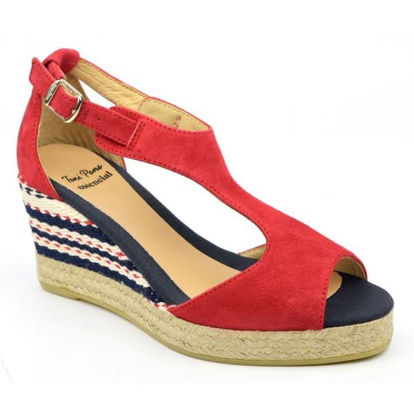 Espadrilles, sandales compensées, cuir daim, rouges, Arlet, Toni Pons