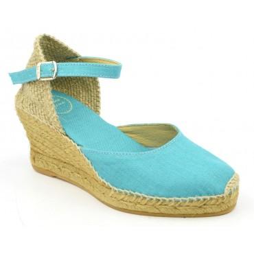 Espadrilles, sandales compensées, tissu, bleu turquoise, Caldes , Toni Pons