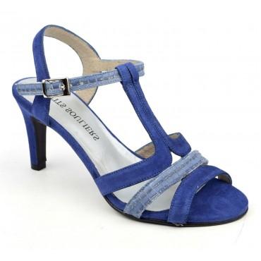 Sandales cuir daim, bleues, F2145, Maolta, Brenda Zaro