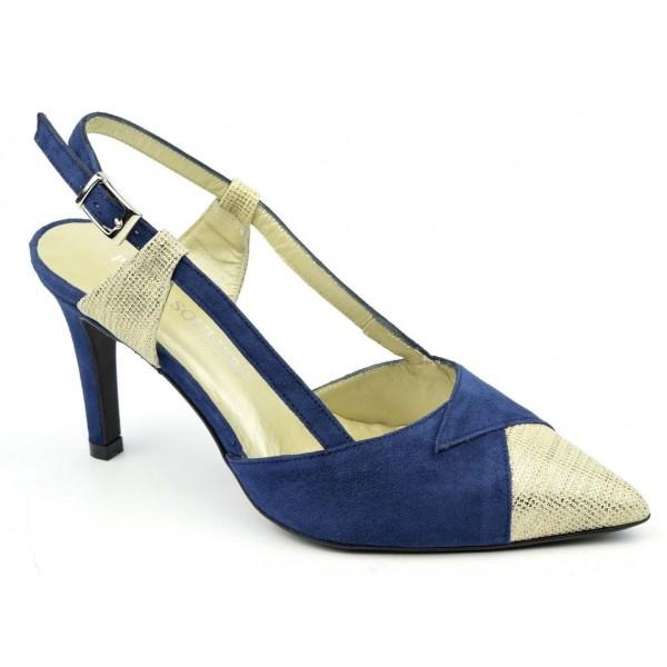 Sandales cuir daim, bleues et or, F2124A, Naschel, Brenda Zaro