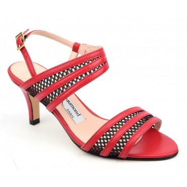 Sandales cuir mat rouge et cuir résille noires, MI-507, Yves de Beaumond