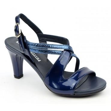 Sandales cuir verni, bleu marine, à plateau, 3768, Plumers, femme petites pointures
