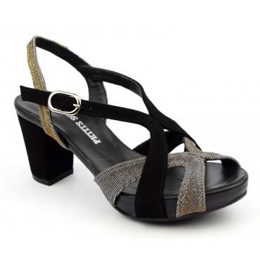 Sandales cuir daim, noires, à plateau, 3780, Plumers, femme petites pointures