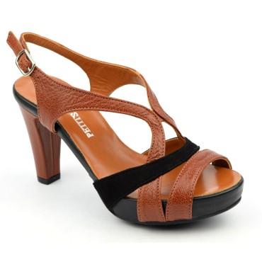 Sandales cuir craquelé, marrons à plateau, 3787, Plumers, femme petites pointures