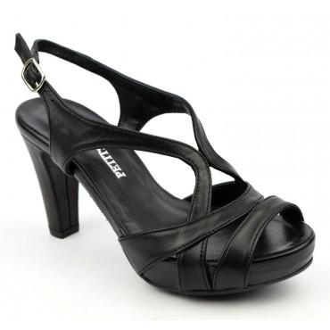 Sandales cuir lisse, noires à plateau, 3787, Plumers, femme petites pointures