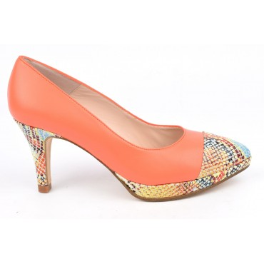Escarpins plateforme, cuir mat orange et motif serpent, 8608, Talon 7,5 cm, Yves de Beaumond