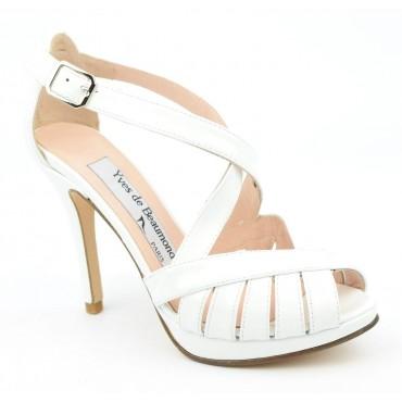 Sandales, cuir verni, blanches, MI-551, Yves de beaumond