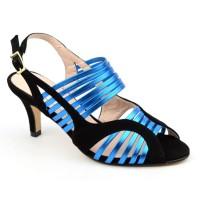 Sandales, cuir daim noires, lanières bleu turquoise, MI-501, Yves de beaumond