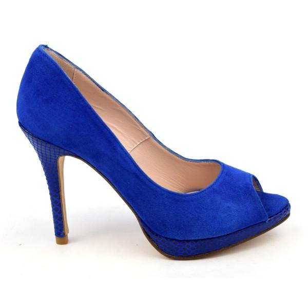 Escarpins plateforme, cuir daim bleu royal, bouts ouverts, 8643, Yves de Beaumond