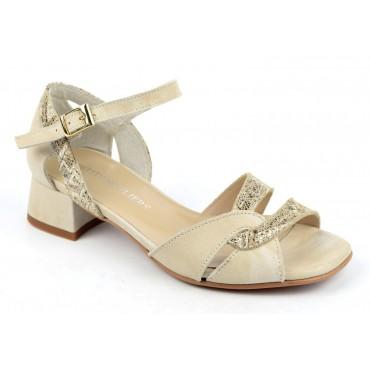 Sandales cuir mat beige, effet délavé, petits taons, F2048A, Brenda Zaro