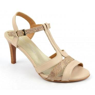Sandales cuir mat beige, talons effet bois, F2145, Brenda Zaro