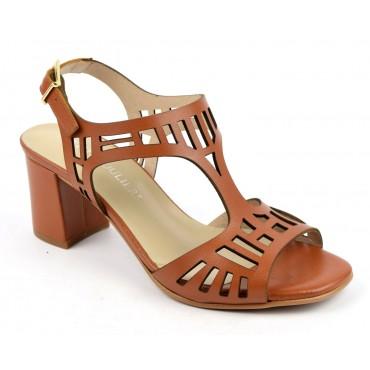 Sandales cuir découpé, mat marron, F2053, Brenda Zaro