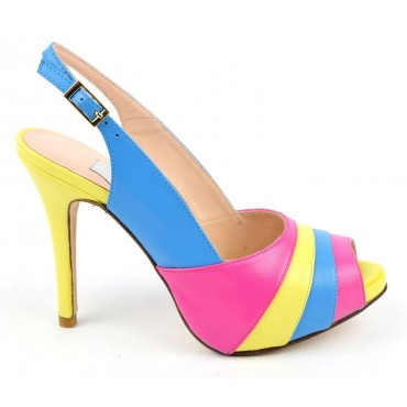 Sandales, cuir mat tricolores, rose, jaune et bleu, MI-550 , Yves de Beaumond
