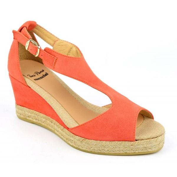 Espadrilles, sandales compensées, cuir daim, orange mangue, Anna-GA, Toni Pons