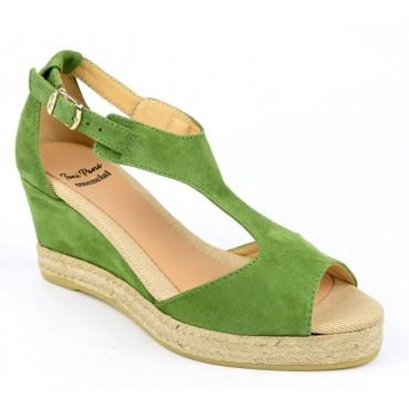 Espadrilles, sandales compensées, cuir daim, vert forêt, Anna-GA, Toni Pons