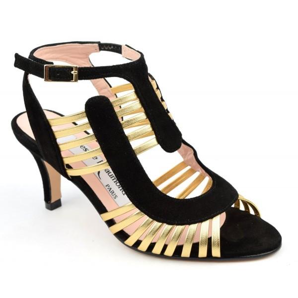 Sandales, cuir daim noire et cuir or, MI-500, Yves de Beaumond
