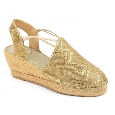 Espadrilles sandales compensées, cuir motif reptile or et bronze, Torino-LY , Toni Pons