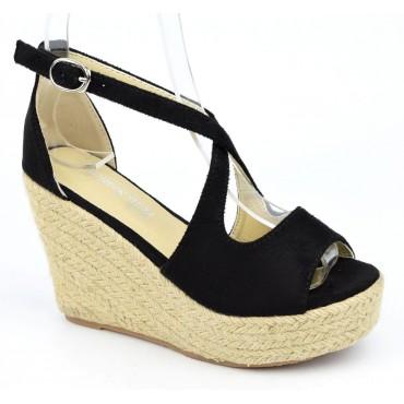 Sandales compensées, aspect daim, noires, Bellanie , femme petite pointure