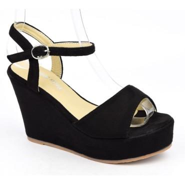 Sandales compensées, aspect daim, noires, Noram , femme petite pointure