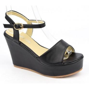 Sandales compensées, aspect cuir mat, noires, Noram , femme petite pointure