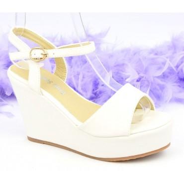 Sandales compensées, aspect cuir mat, blanches, Noram , femme petite pointure