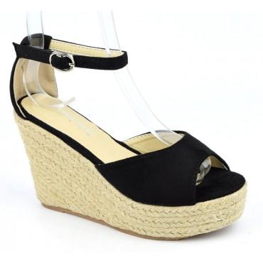 Sandales compensées, aspect daim, noires, Delphinette