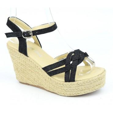 Sandales compensées, tissu jean, noires, Ismadia