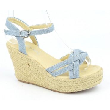 Sandales compensées, tissu jean, bleu clair, Ismadia
